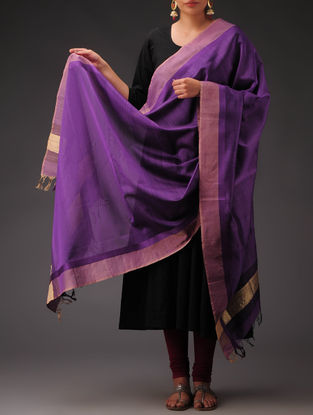 Purple-Golden Maheshwari Silk-Cotton Dupatta