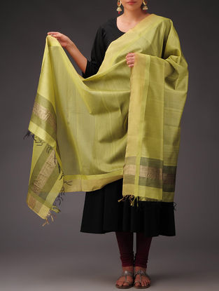 Light-Green-Golden Maheshwari Silk-Cotton Dupatta