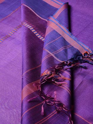 Purple Maheshwari Silk-Cotton Dupatta