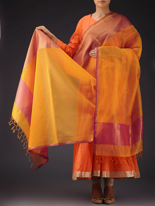 Light Orange - Pink Maheshwari Silk-Cotton Dupatta