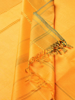 Light Orange - Green Maheshwari Silk-Cotton Dupatta