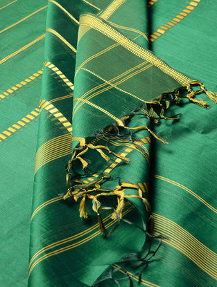 Green - Yellow Maheshwari Silk-Cotton Dupatta