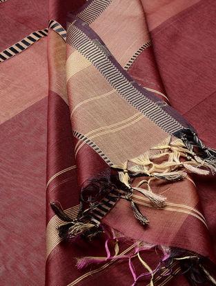 Maroon - Ecru Maheshwari Silk-Cotton Dupatta