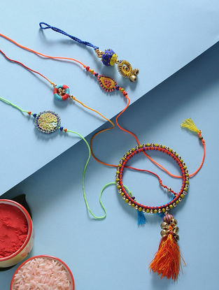 Multicolored Hand-Embroidered Rakhi and Lumba(Set of 5)