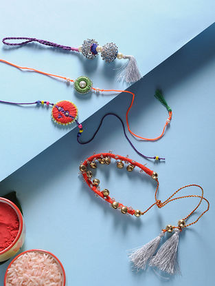 Multicolored Hand-Embroidered Rakhi and Lumba(Set of 4)