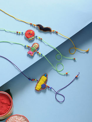 Multicolored Hand-Embroidered Rakhi (Set of 4)