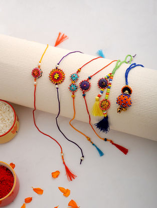 Multicolored Thread Hand-embroidered Rakhi and Lumba (Set of 6)