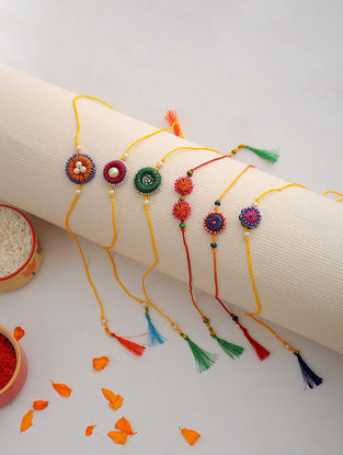 Multicolored Thread Hand-embroidered Rakhi (Set of 6)