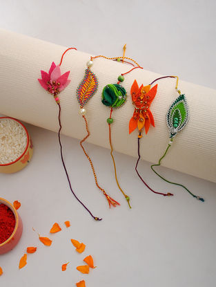 Multicolored Thread Hand-embroidered Rakhi (Set of 5)