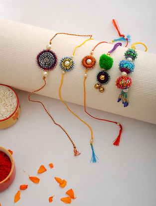 Multicolored Thread Hand-embroidered Rakhi and Lumba (Set of 5)