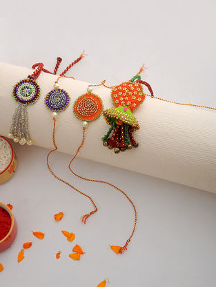 Multicolored Thread Hand-embroidered Rakhi and Lumba (Set of 4)