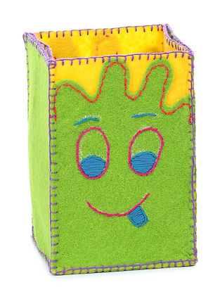 Green Embroidered Pencil Stand