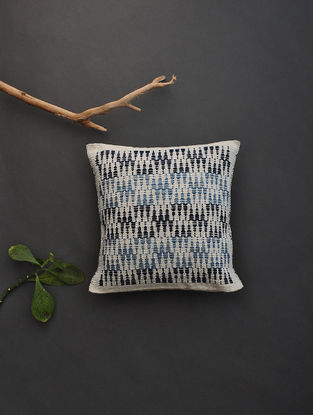 Blue-Black Hand Woven Cotton Cushion Cover (12.5in x 12.5in)