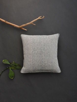 Off White Hand Woven Cotton Cushion Cover (12.5in x 12.5in)