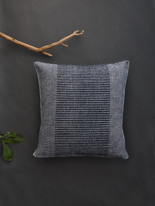Off White Hand Woven Cotton Cushion Cover (16.5in x 16.5in)