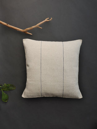 Off White Hand Woven Cotton Cushion Cover (16in x 16.5in)