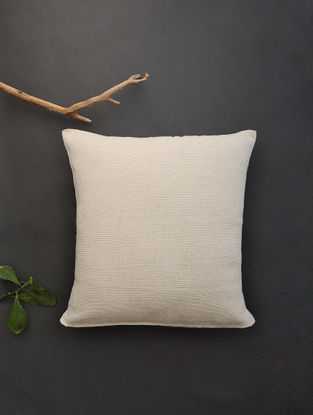 Off White Hand Woven Cotton Cushion Cover (18.5in x 18in)