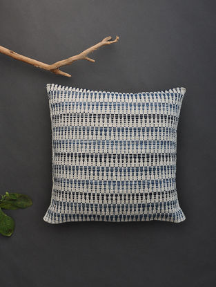 Blue-Black Hand Woven Cotton Cushion Cover (16in x 16in)