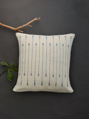 Off White Hand Woven Cotton Cushion Cover (19in x 18.5in)