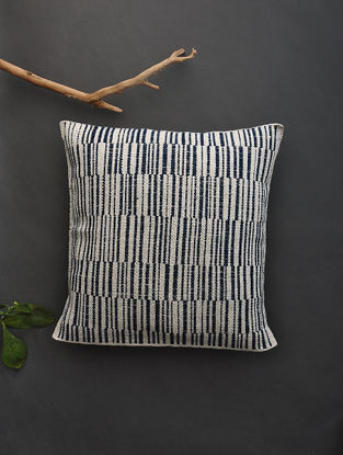 Off White Hand Woven Cotton Cushion Cover (16.5in x 16.2in)