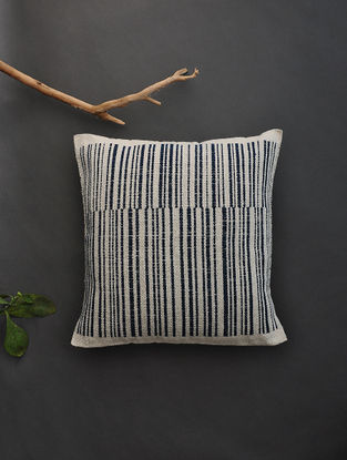 Off White Hand Woven Cotton Cushion Cover (16.5in x 16in)