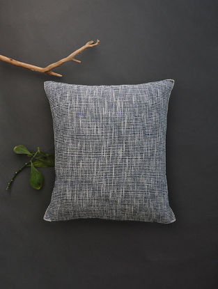 Off White Hand Woven Cotton Cushion Cover (18in x 18in)