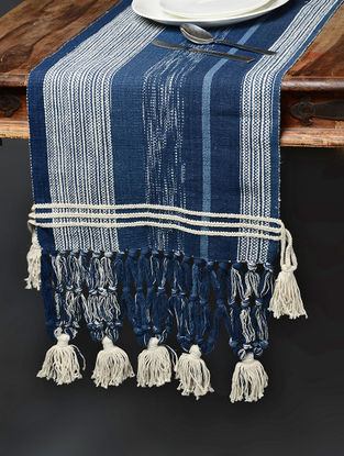 Blue-White Hand Woven Cotton Table Runner (74in x 15.5in)