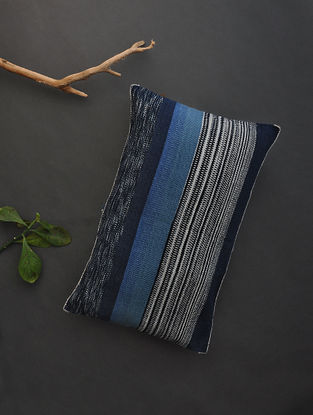 Blue-White Hand Woven Cotton Cushion Cover (20in x 13.5in)