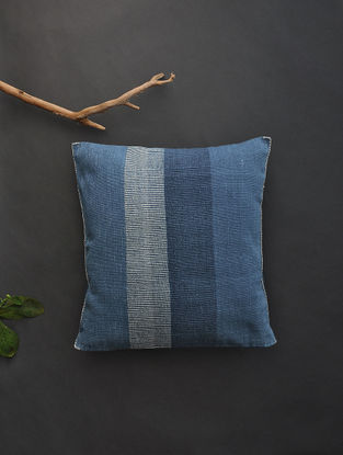 Blue Hand Woven Cotton Cushion Cover (16.5in x 16.5in)