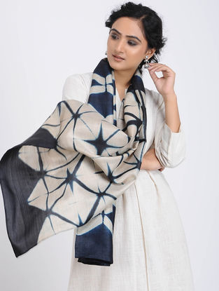 Ivory-Blue Clamp-dyed Tussar Silk Stole