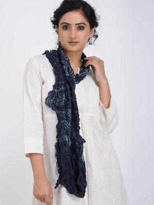 Blue-Ivory Shibori-dyed Tussar Silk Stole