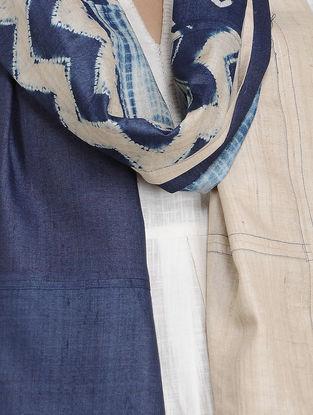 Beige-Blue Shibori-dyed Tussar Silk Stole