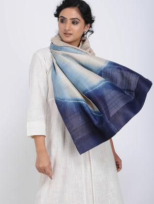 Ivory-Blue Shibori-dyed Tussar Silk Stole