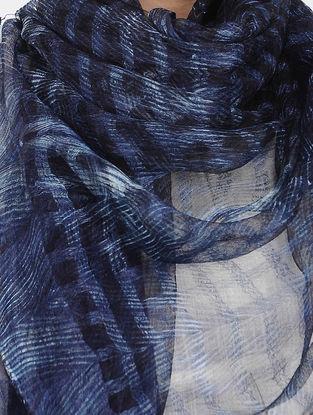 Blue-Ivory Shibori-dyed Sheer Silk Stole