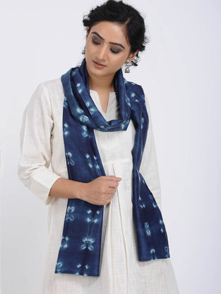 Blue-Ivory Clamp-dyed Tussar Silk Stole