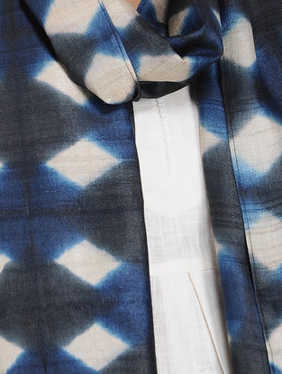 Black-Ivory Clamp-dyed Tussar Silk Stole