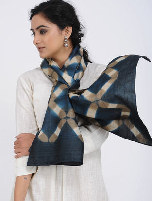 Blue-Beige Clamp-dyed Tussar Silk Stole