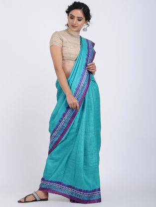 Turquoise-Grey Shibori-dyed Tussar Silk Saree
