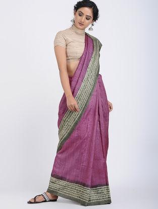 Purple-Grey Shibori-dyed Tussar Silk Saree