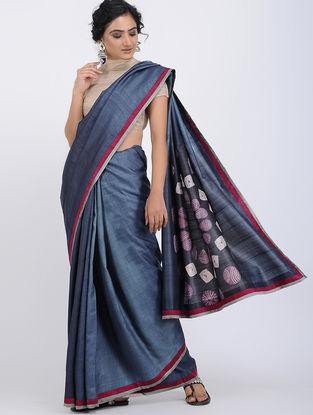 Blue Shibori-dyed Tussar Silk Saree