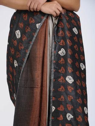 Black-Brown Block-printed Tussar Silk Saree