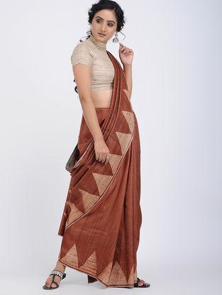Brown-Ivory Shibori-dyed Tussar Silk Saree