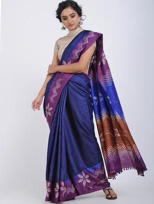Blue-Purple Shibori-dyed Tussar Silk Saree