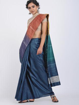 Blue-Red Shibori-dyed Tussar Silk Saree
