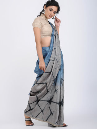 Grey-Blue Clamp-dyed Tussar Silk Saree