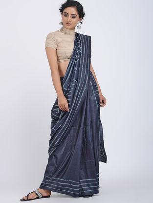 Blue-Ivory Shibori-dyed Tussar Silk Saree