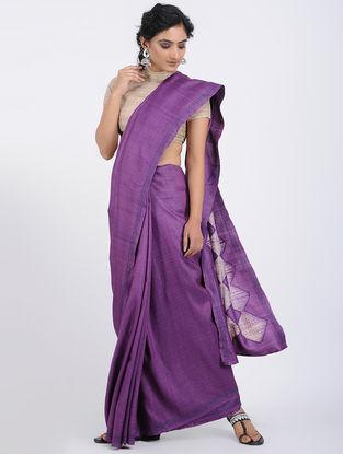 Purple-Ivory Shibori-dyed Tussar Silk Saree