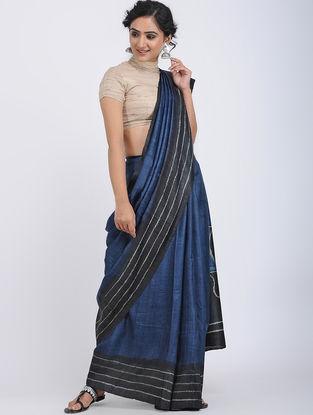 Blue-Black Shibori-dyed Tussar Silk Saree