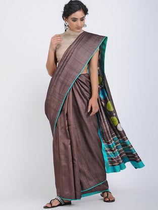Maroon-Blue Shibori-dyed Tussar Silk Saree