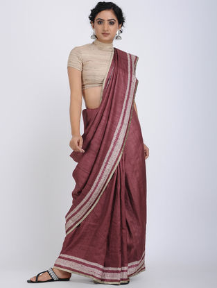 Maroon-Ivory Shibori-dyed Tussar Silk Saree